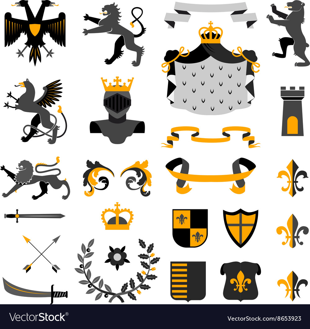 Heraldic Symbols Emblems Collection Black Yellow