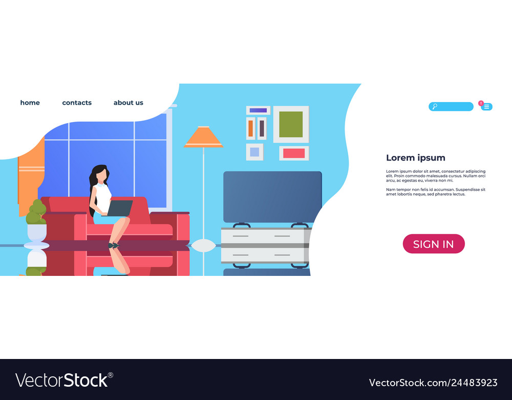 Home interior landing page woman using laptop