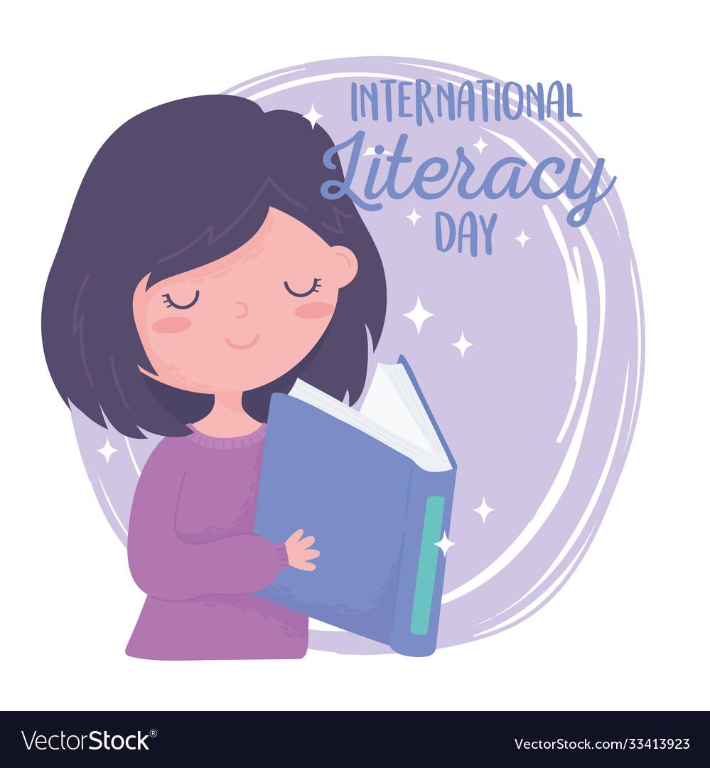 International literacy day knowledge girl reading