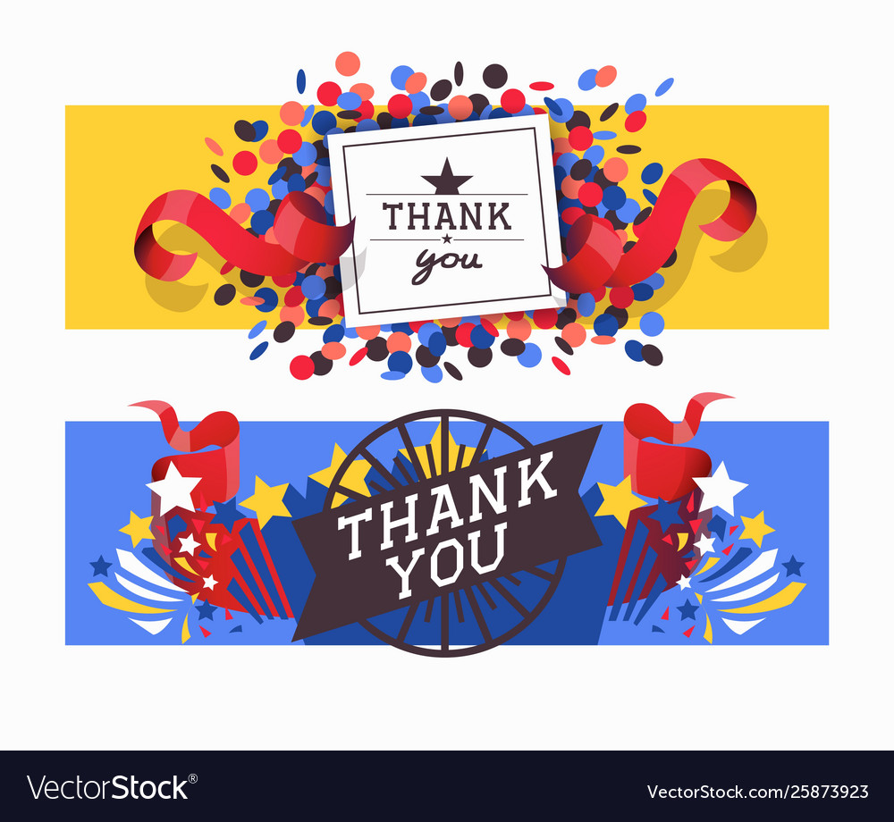 Lettering thank you set banners
