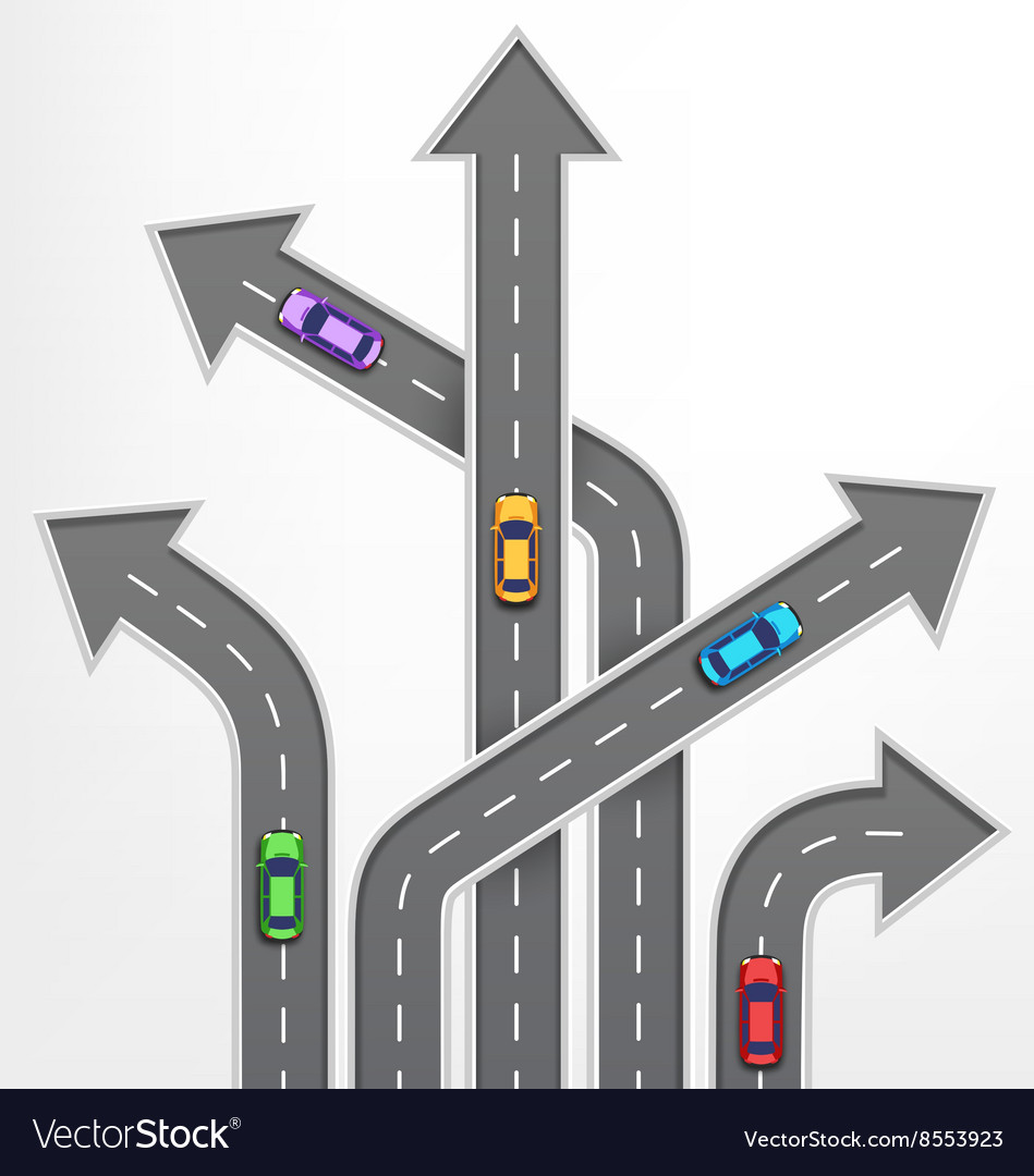 Roads Arrows Travel Background with Cars on White