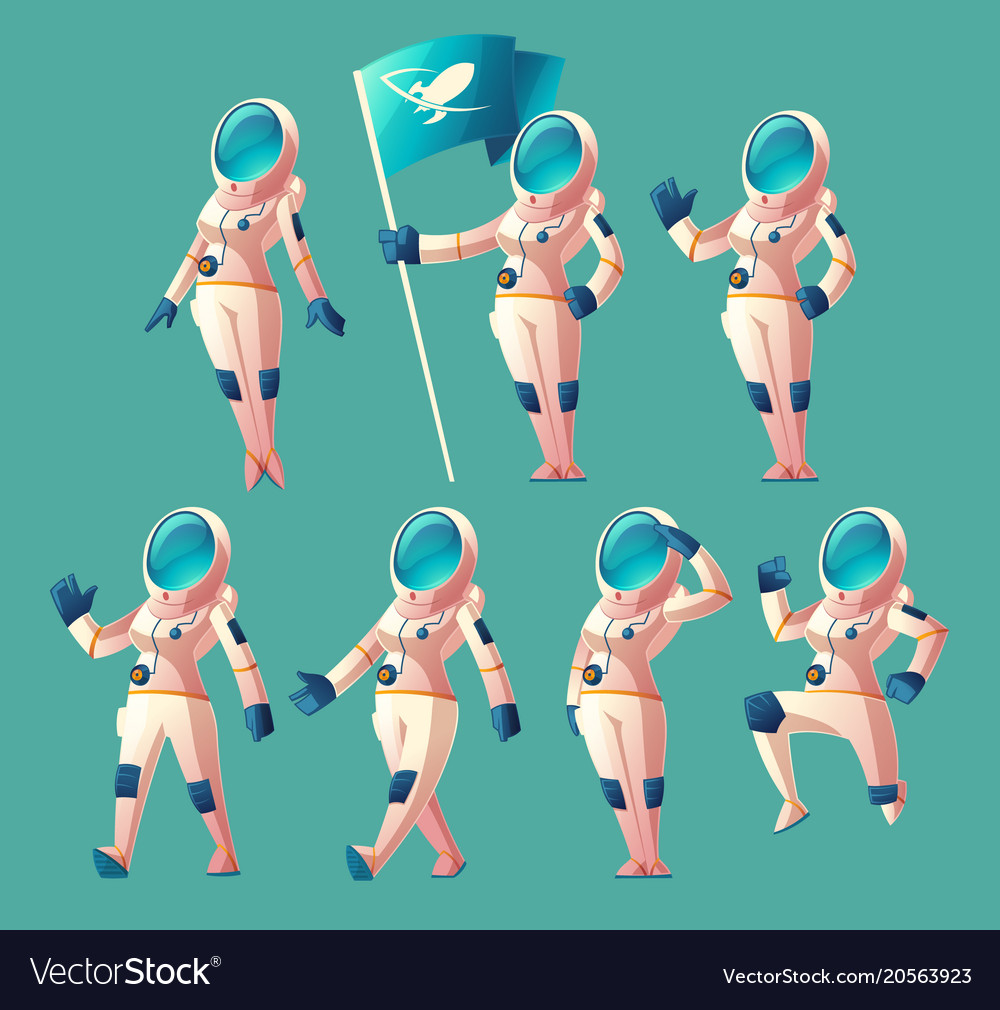 Set of astronaut girls in different poses
