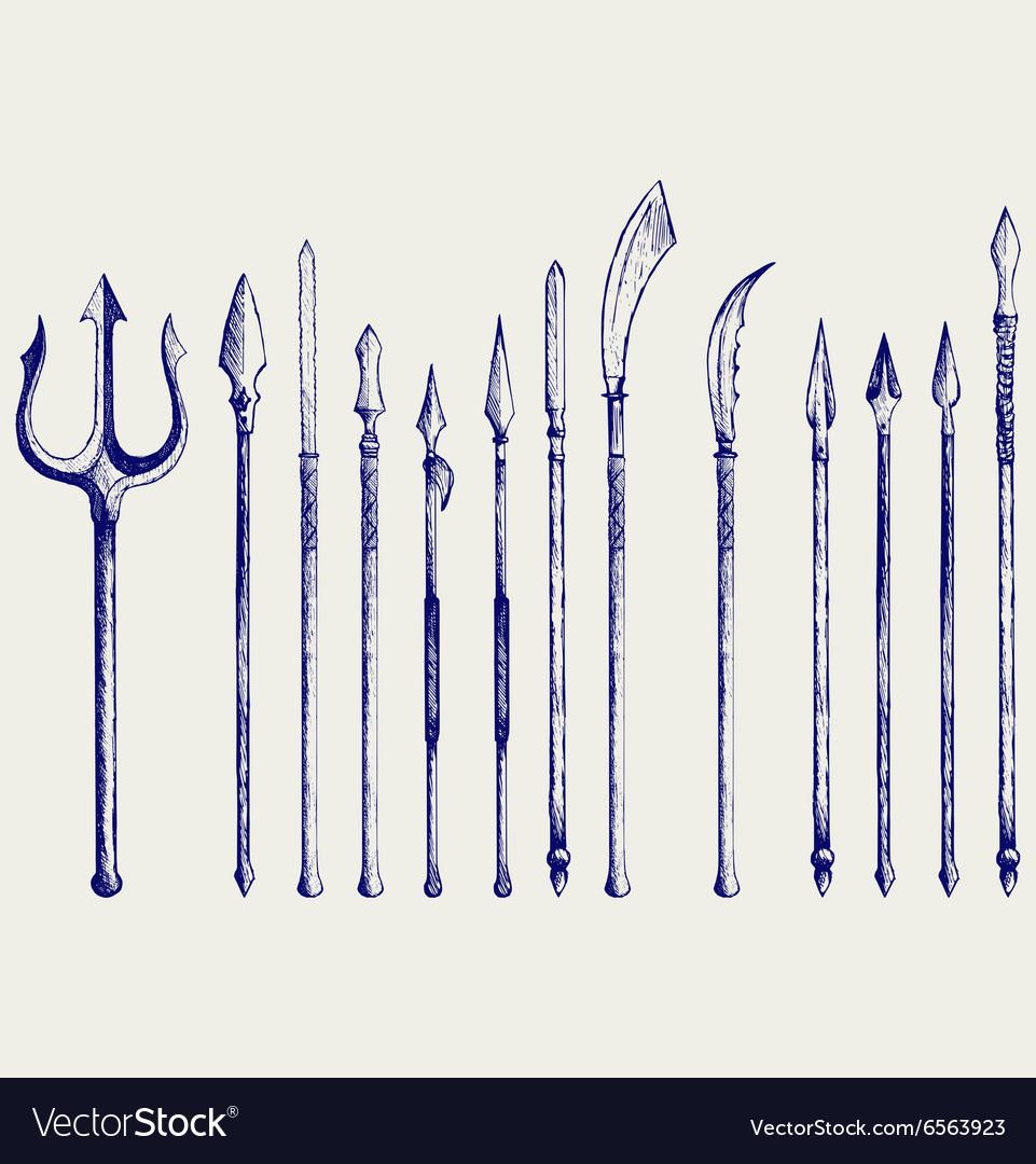 Set spear vector image