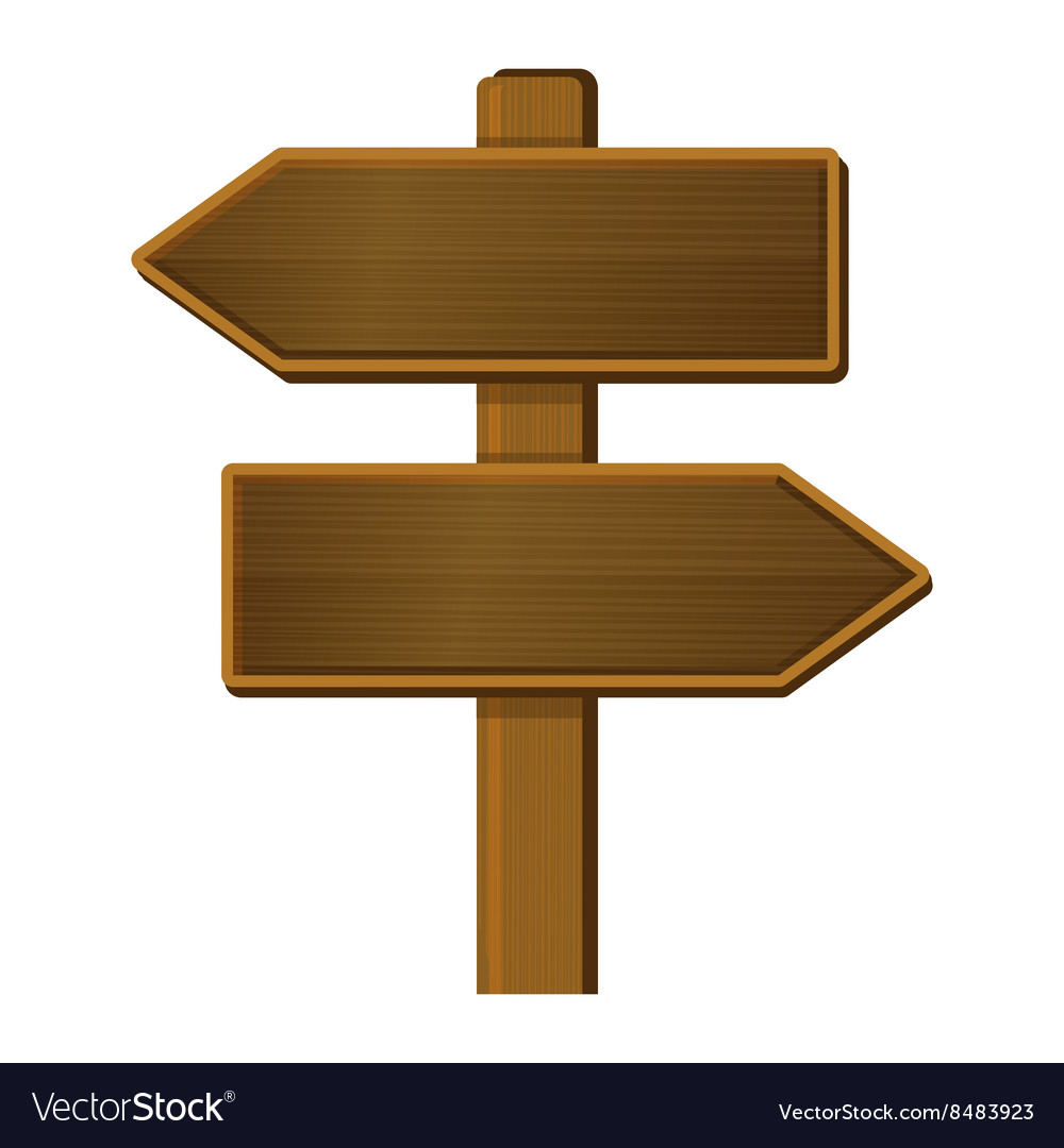 Wooden Arrow Sign Signpost on White Background