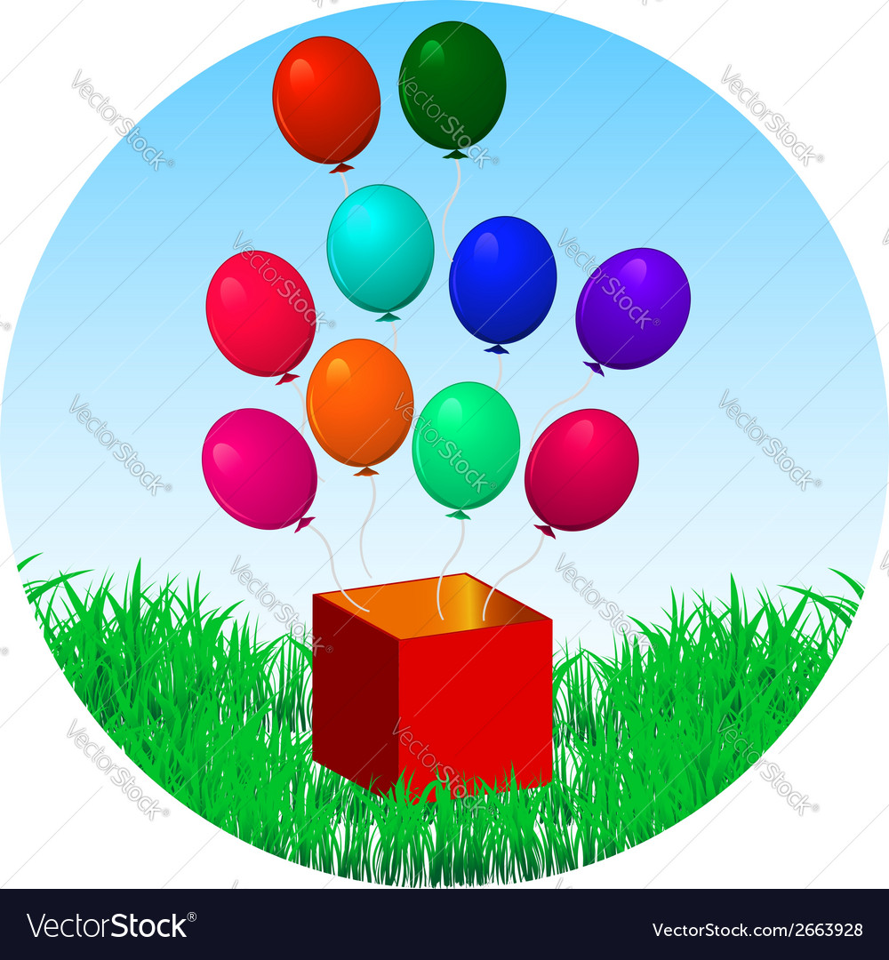Balloons fly out of gift box on green grass vector image