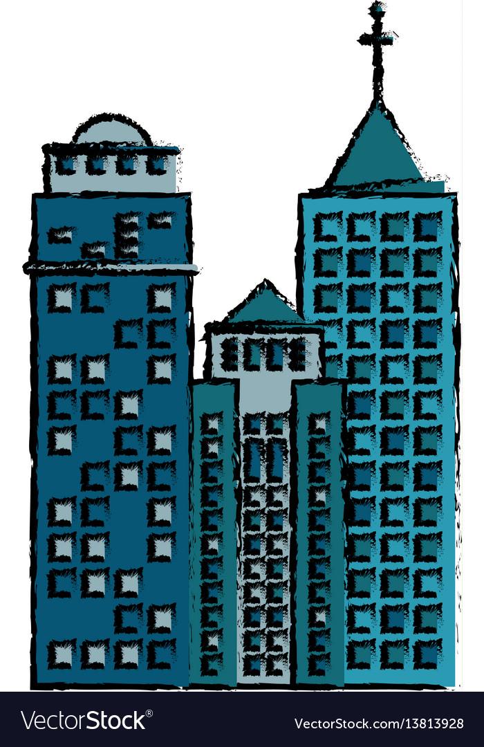 Building facade icon image vector image