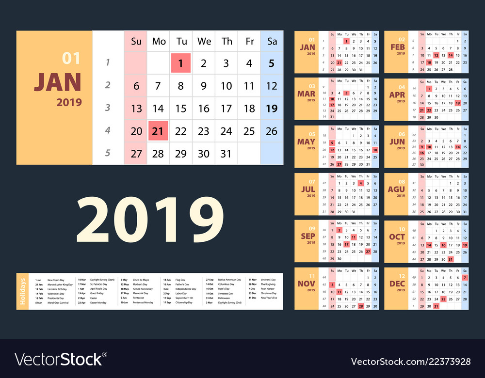Calendar 2019 beige set week starts on sunday