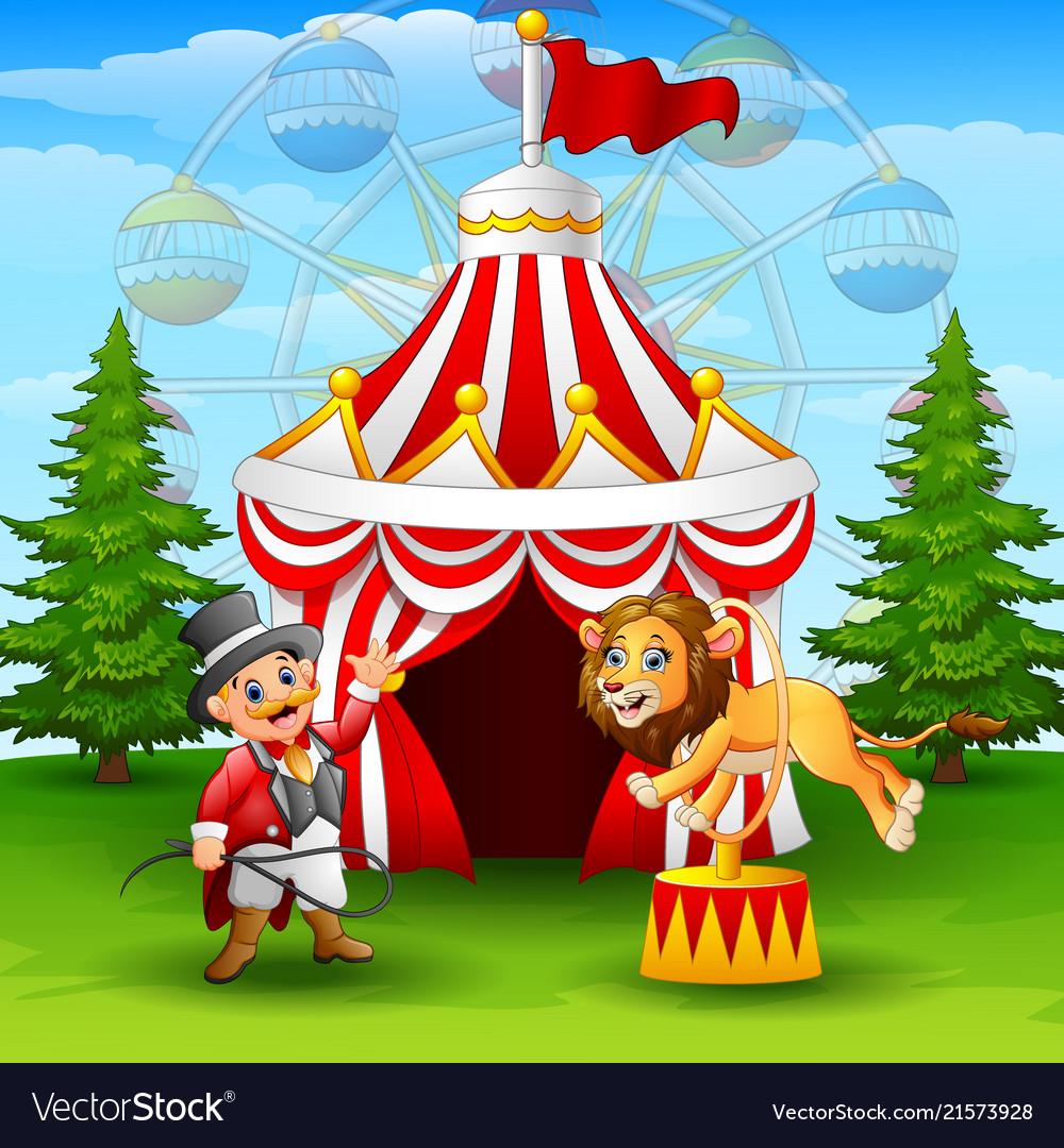Cartoon lion jumping through ring on the circus te