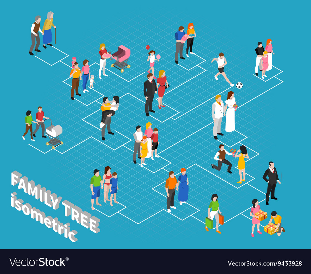 Family Tree Isometric Flowchart Template Vector Image