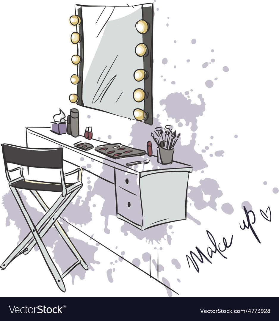 Makeup table vector image