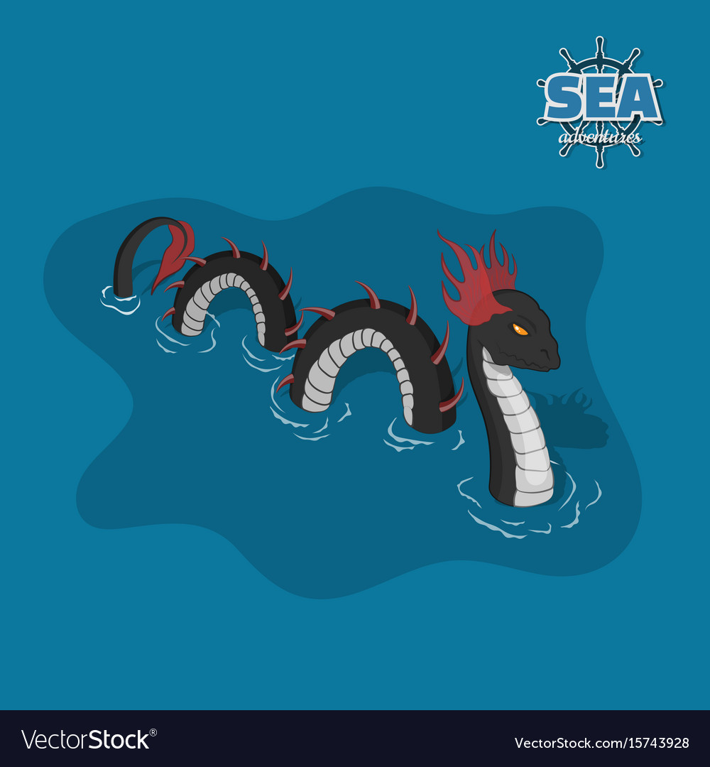 Sea serpent in isometric style ocean monster vector image