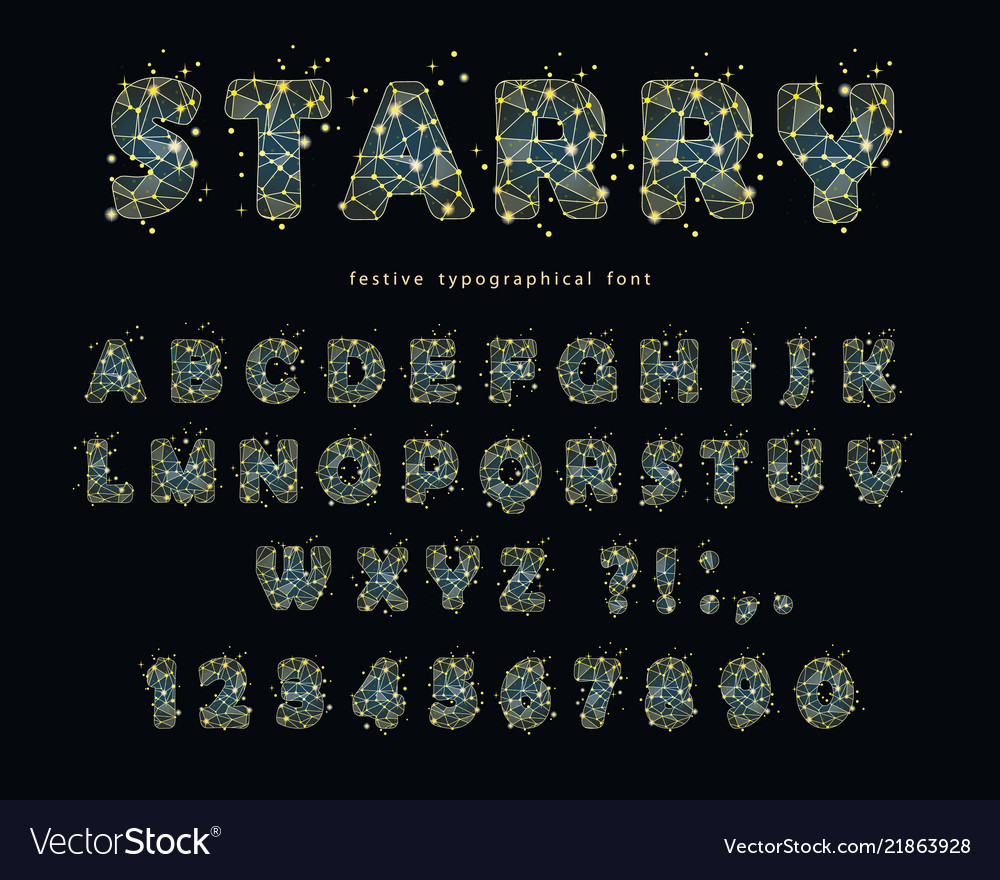Starry modern font abstract polygonal letters and