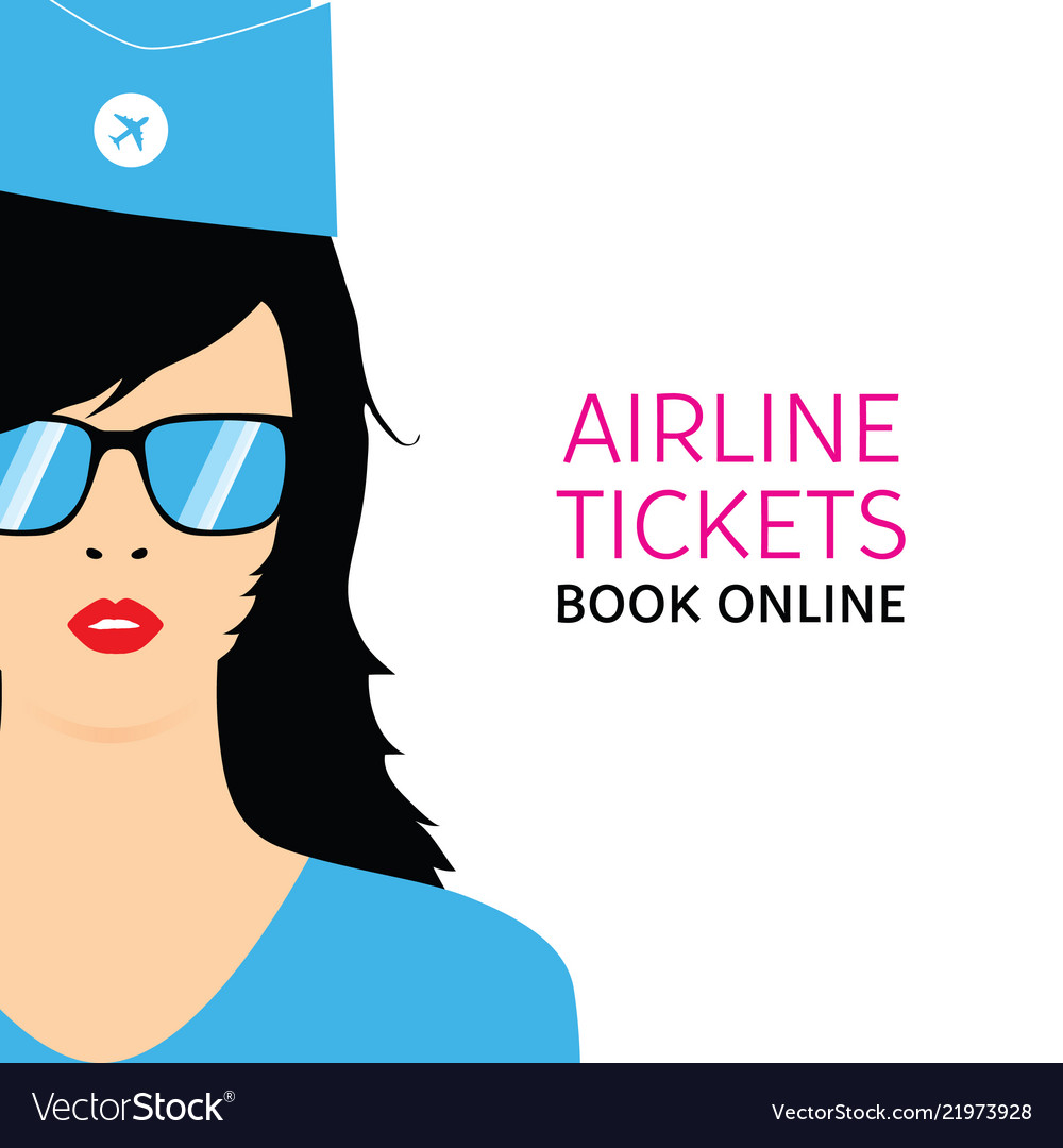 Stewardess in blue uniforms with booking online