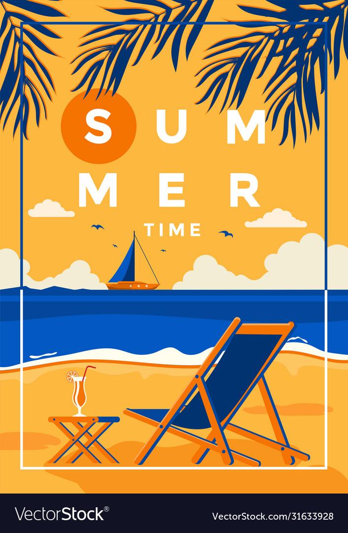 Summer background flat design summer time