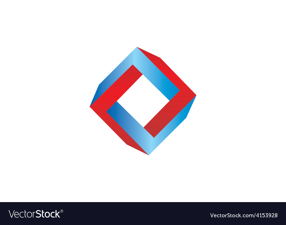 Unusual abstract shape square 3D logo vector image