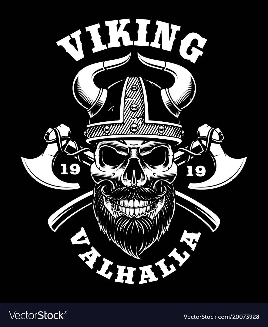 Viking Skull With Axes Royalty Free Vector Image