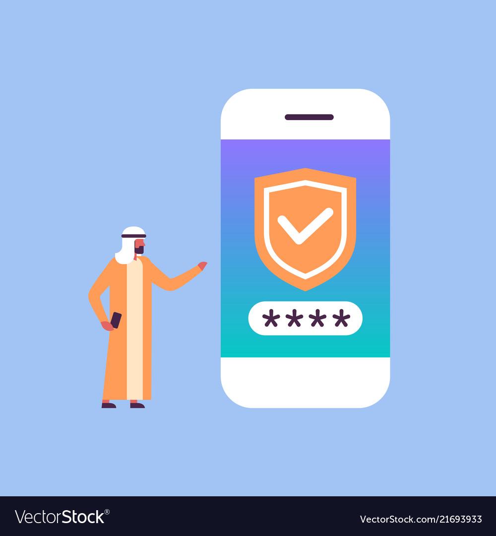 Arabic man unlock smartphone verification mobile