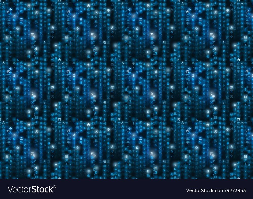 Blue Matrix Symbols Binary Code On Dark Royalty Free Vector