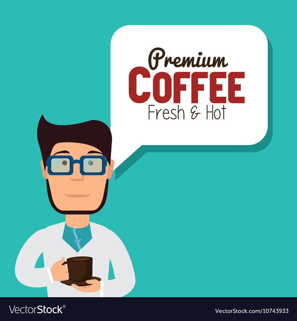 Cartoon man coffee break graphic