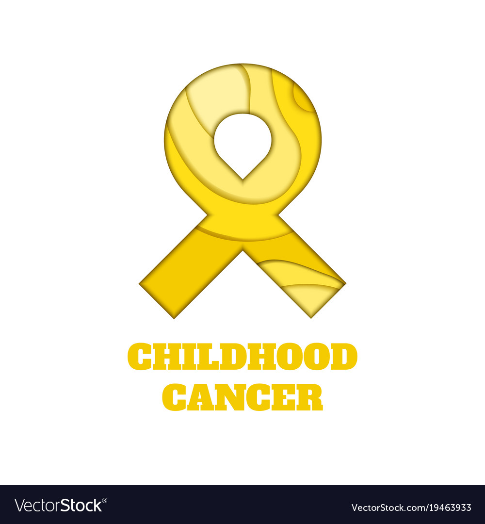 Childhood Cancer Awareness Papercut Ribbon Vector Image