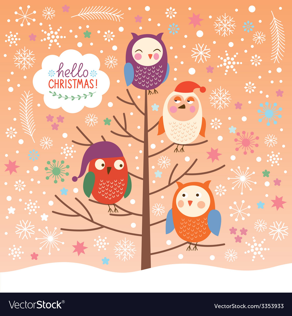 Cute owls on the tree Christmas background