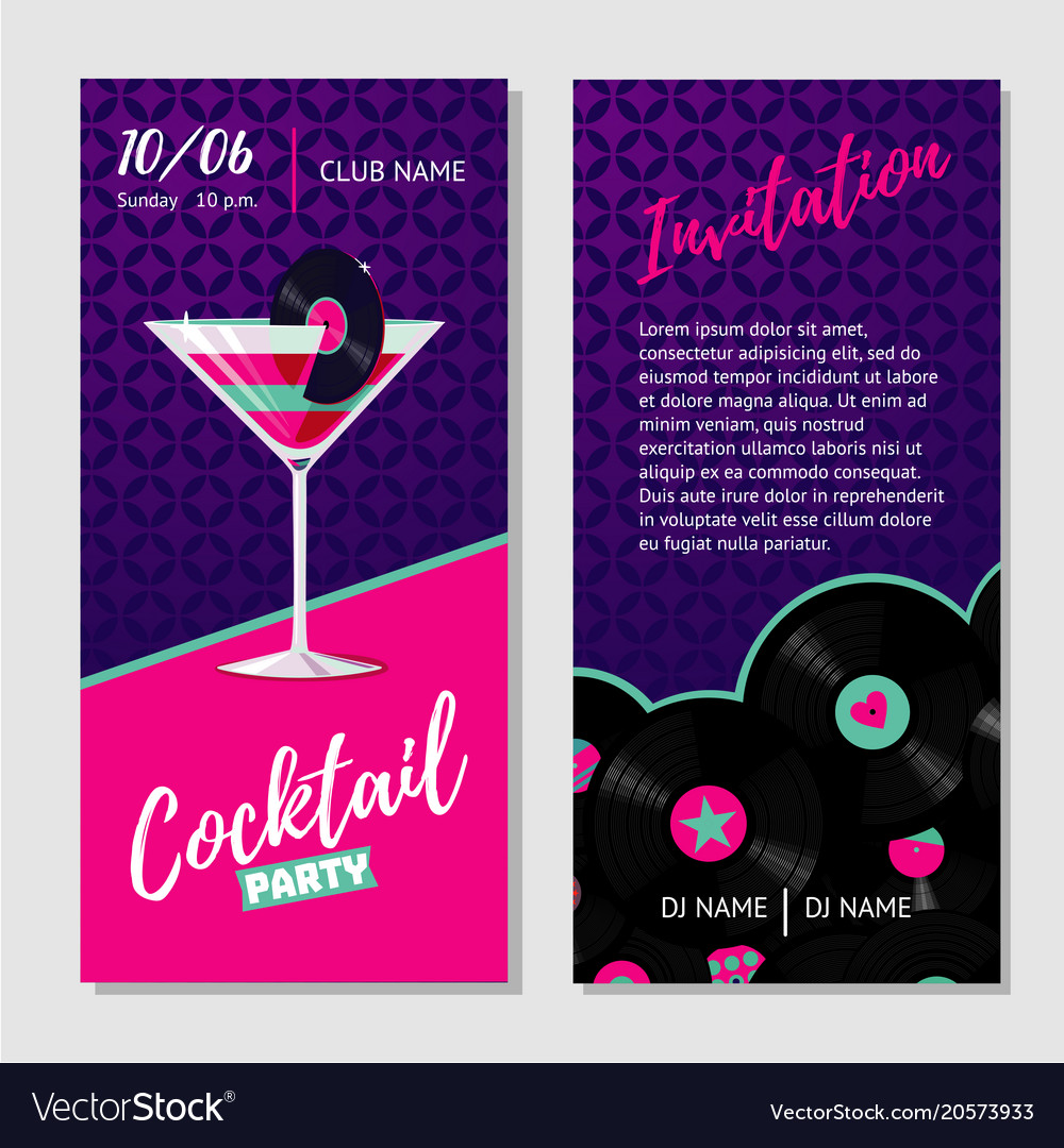 Dance party invitation for nightclub with vinyl