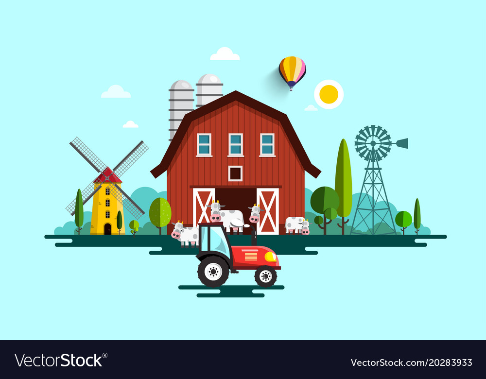 Eco farm with barn tractor windmills and cows