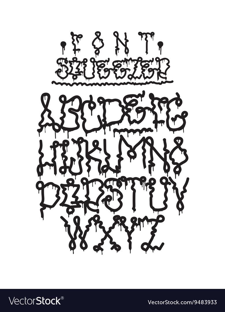 Graffiti font squeezer vector image