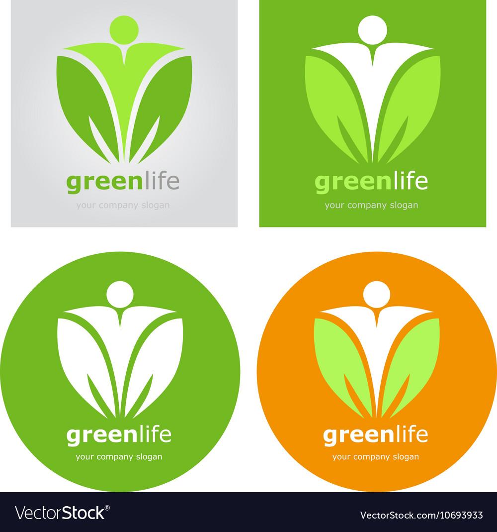 Logos set vegetarian vegan organic food diet