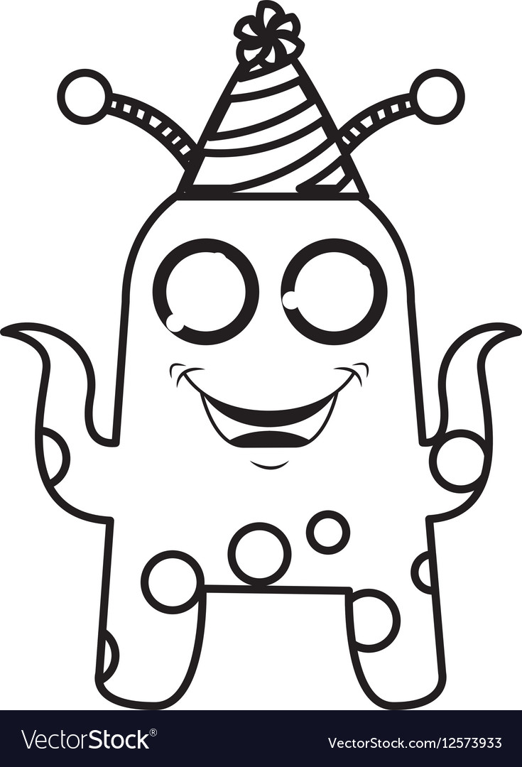 Monster comic character with party hat