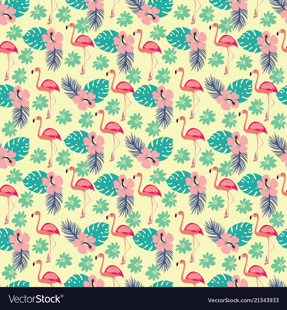 Pattern with flamingo and palm leaves exotic