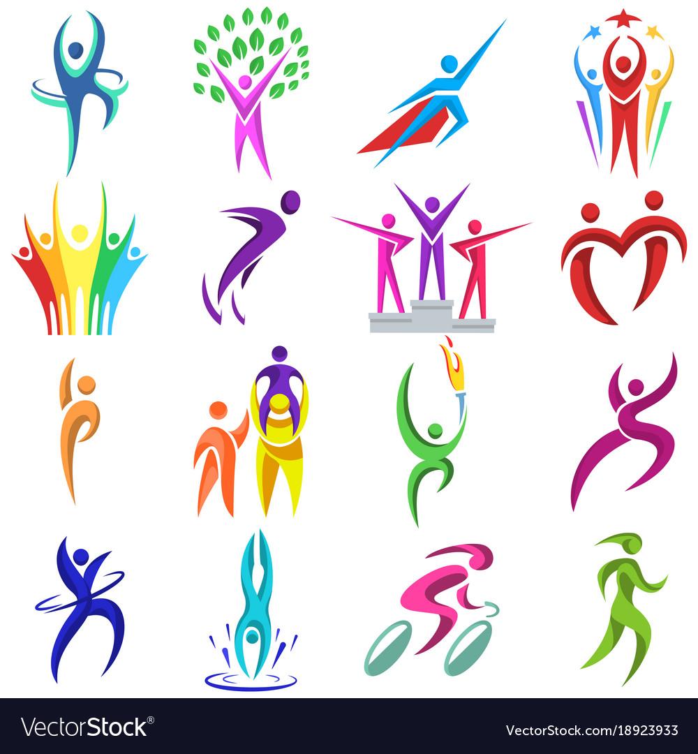 People logo sport fitness logotype