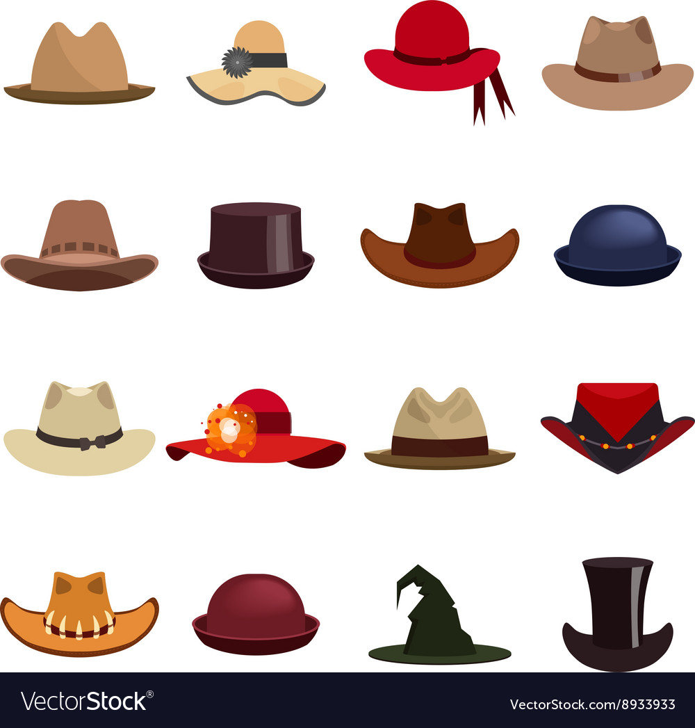 Set of man and woman hats