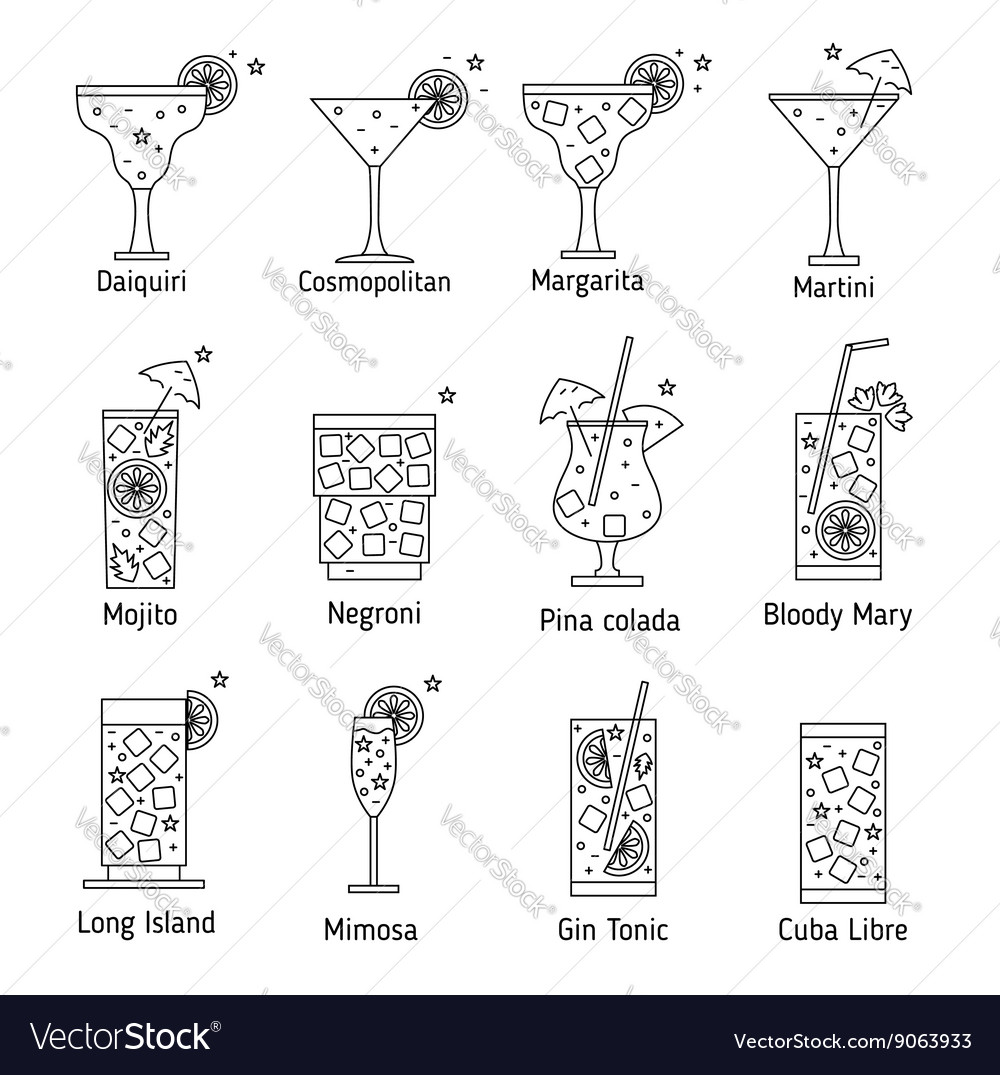 Set outline various kinds cocktails