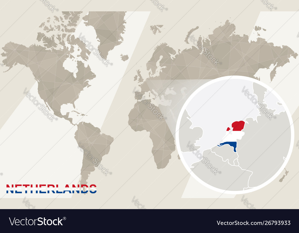 Zoom on netherlands map and flag world map