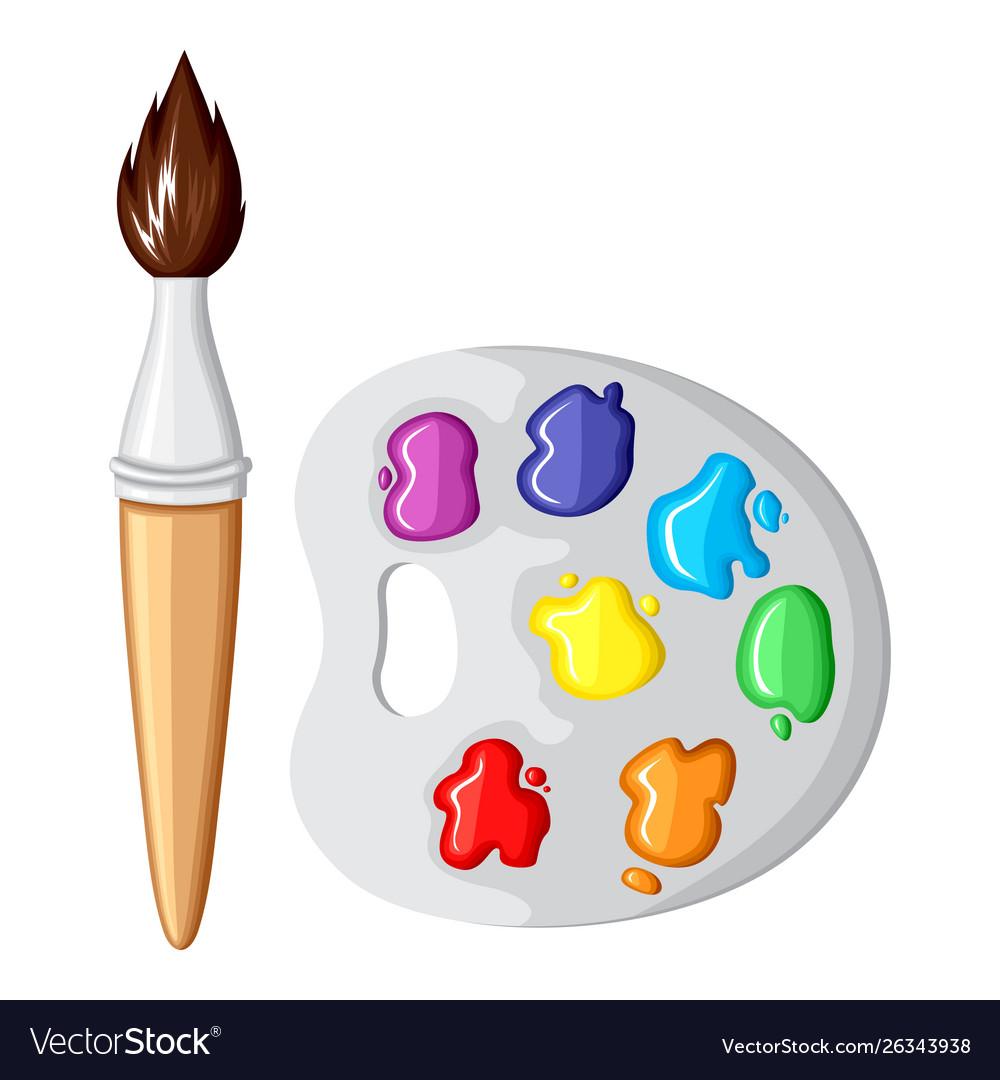 Cartoon paintbrush and palette paints