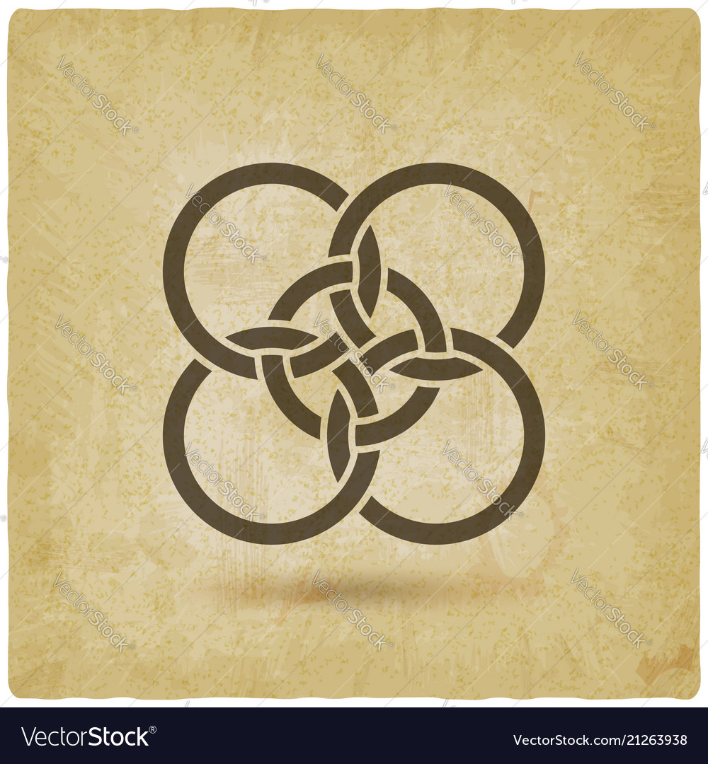 Five interlocked circles vintage background