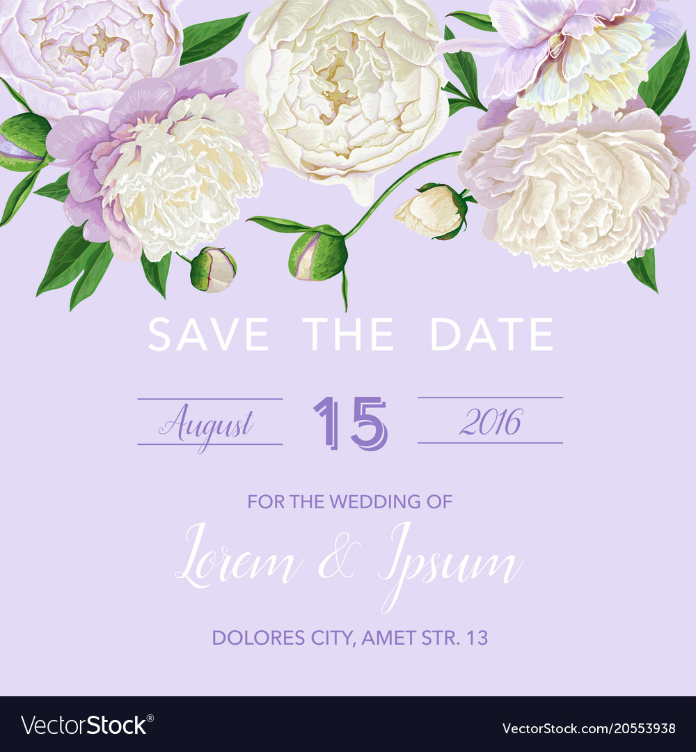 Floral Wedding Invitation White Peonies Flowers Vector Image