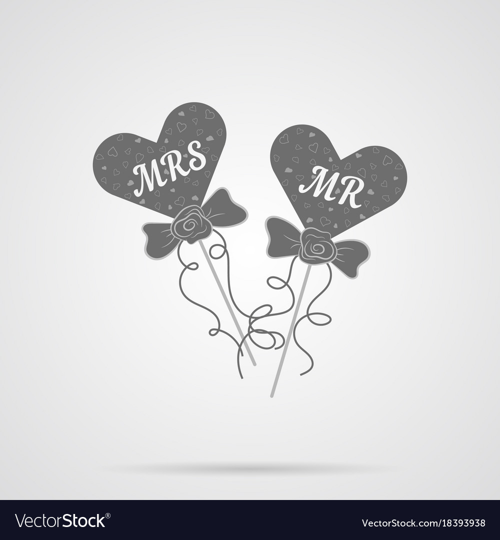 Gray wedding hearts mr and mrs flat icon vector image