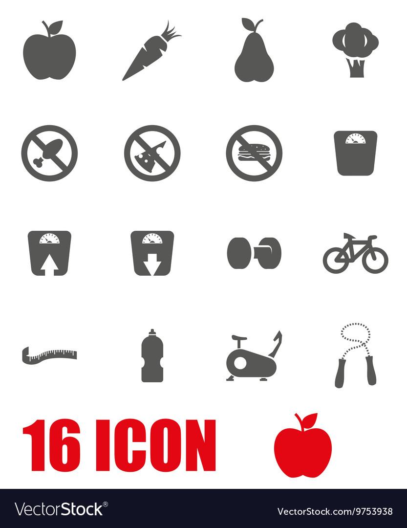 Grey diet icon set