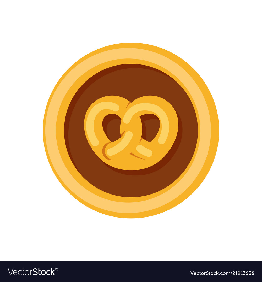 Logotype for bakery pretzel bun in round