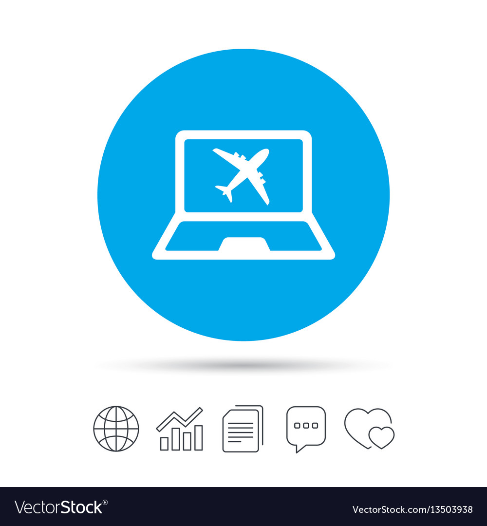 Online Check In Sign Airplane Symbol Travel Vector Image