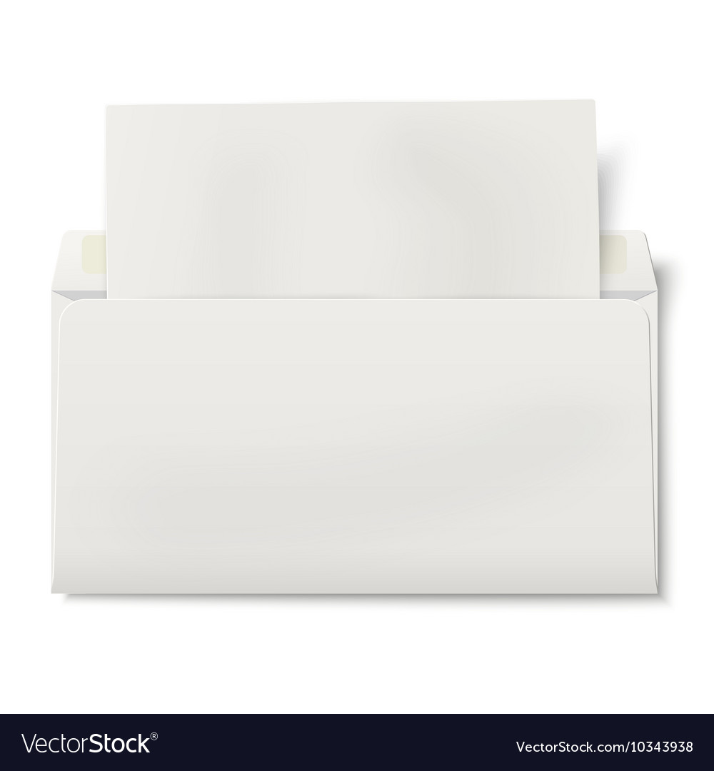 Opened DL envelope with sheet of paper inside vector image