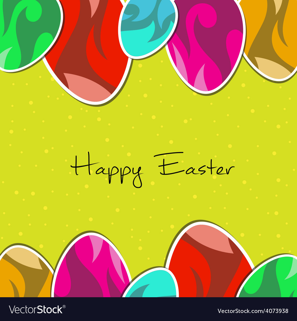 Paper eggs Happy easter card green
