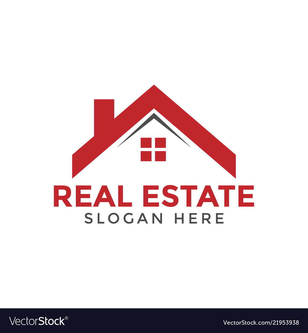 Red real estate house logo icon design template