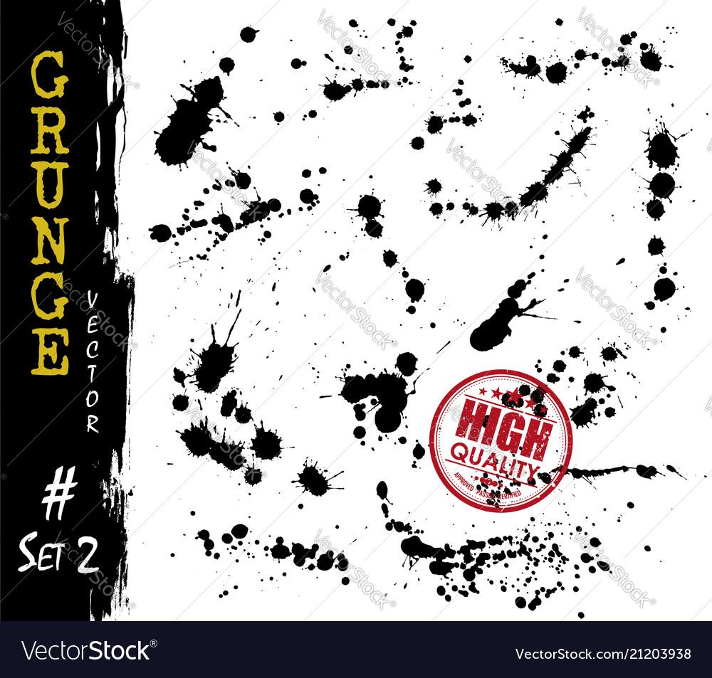 Set grunge style blood or ink splatter