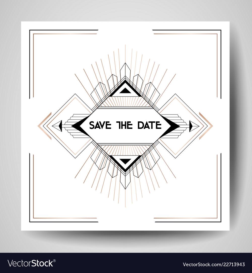 Art deco wedding invitation save date card