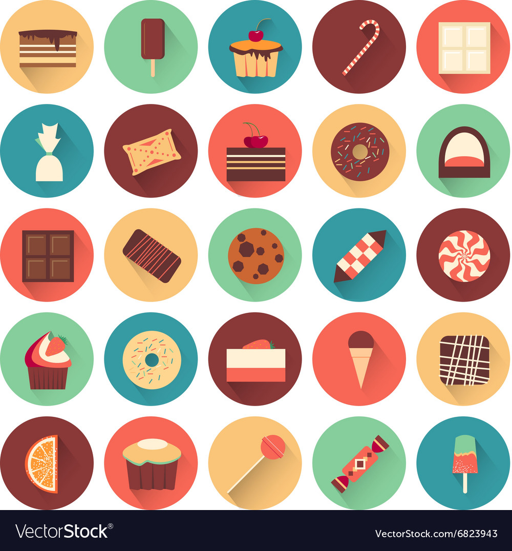 Dessert icon set Collection of tasty sweets