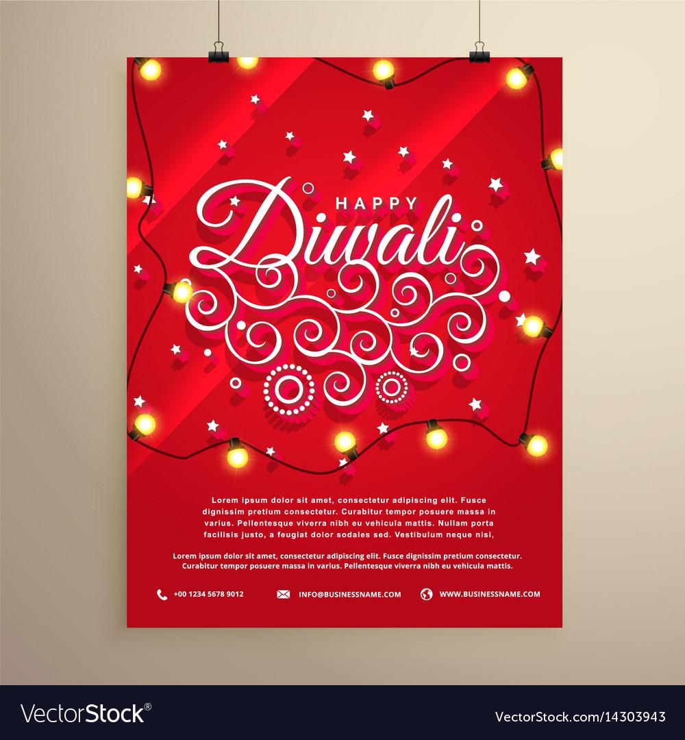 diwali flyer invitation template for the festival vector image
