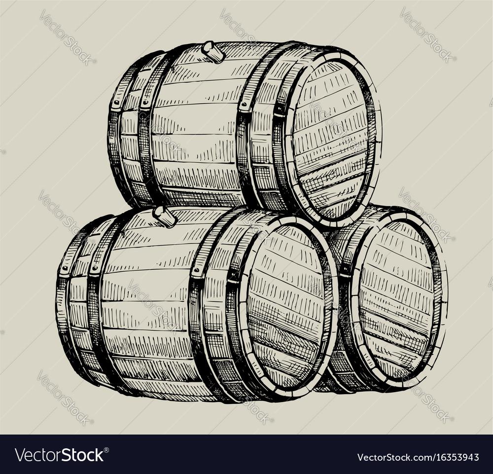 Drawing wood barrel